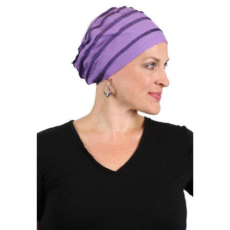 Slouchy Beanie Hat for Women Cancer Headwear Snood Ladies Chemo Cap Hair Loss (Purple) (Waynes World Hat With Hair)