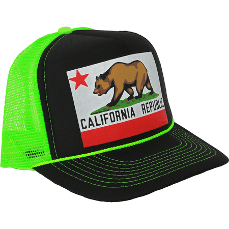 New CALIFORNIA REPUBLIC ORIGINAL STATE BEAR FLAG SNAPBACK Hat Neon Cap Cali