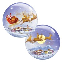 """Qualatex A Visit From St. Nicholas Christmas 22"""" Bubble Balloon, Clear Red Blue"""