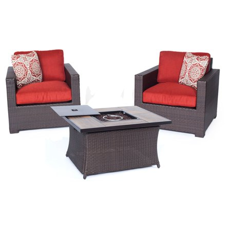Hanover Metropolitan 3 Piece Woven Fire Pit Chat Set With Glazed Faux Wood Tile Top