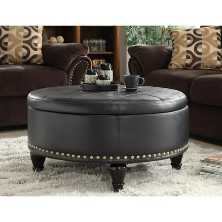 Augusta Storage Ottoman-Color: Black, Material: Bonded leather, Number of Items: EA, Size:32W x 32D x 18H,Style: Midcentury
