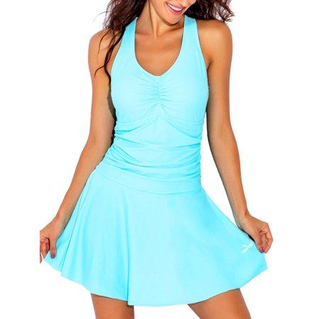ff7a795e9b0b08 Funnygirl - Swim Dress One Piece Skirt Swimsuit Ruched Retro Swimdress Bathing  Suit - Walmart.com