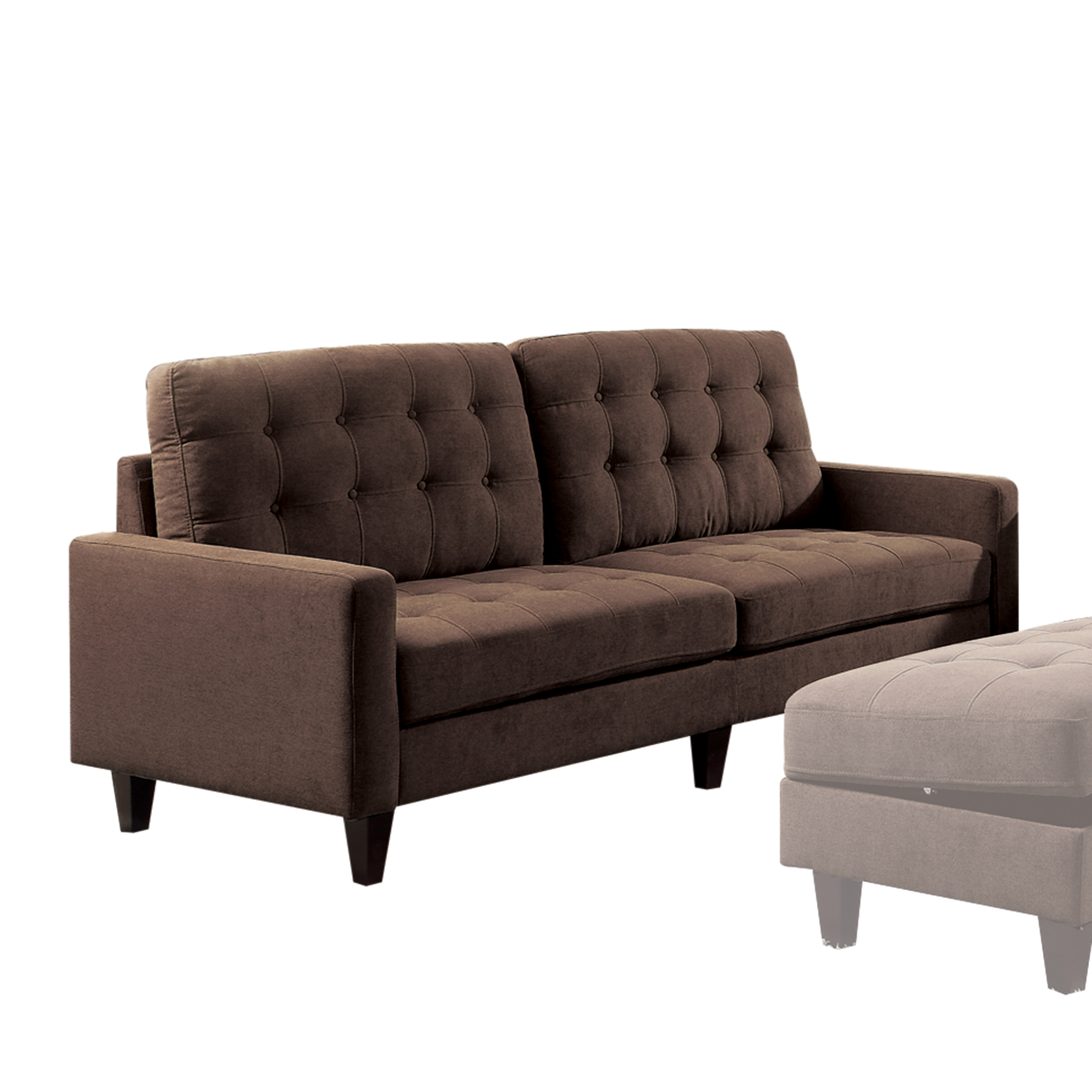 Acme Nate Memory Foam Sofa with Tufting in Chocolate Fabric