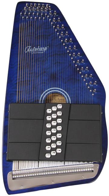 Oscar Schmidt 21 Chord Autoharp, Quilted Maple Top, Trans Blue, OS21CQTBL by Oscar Schmidt