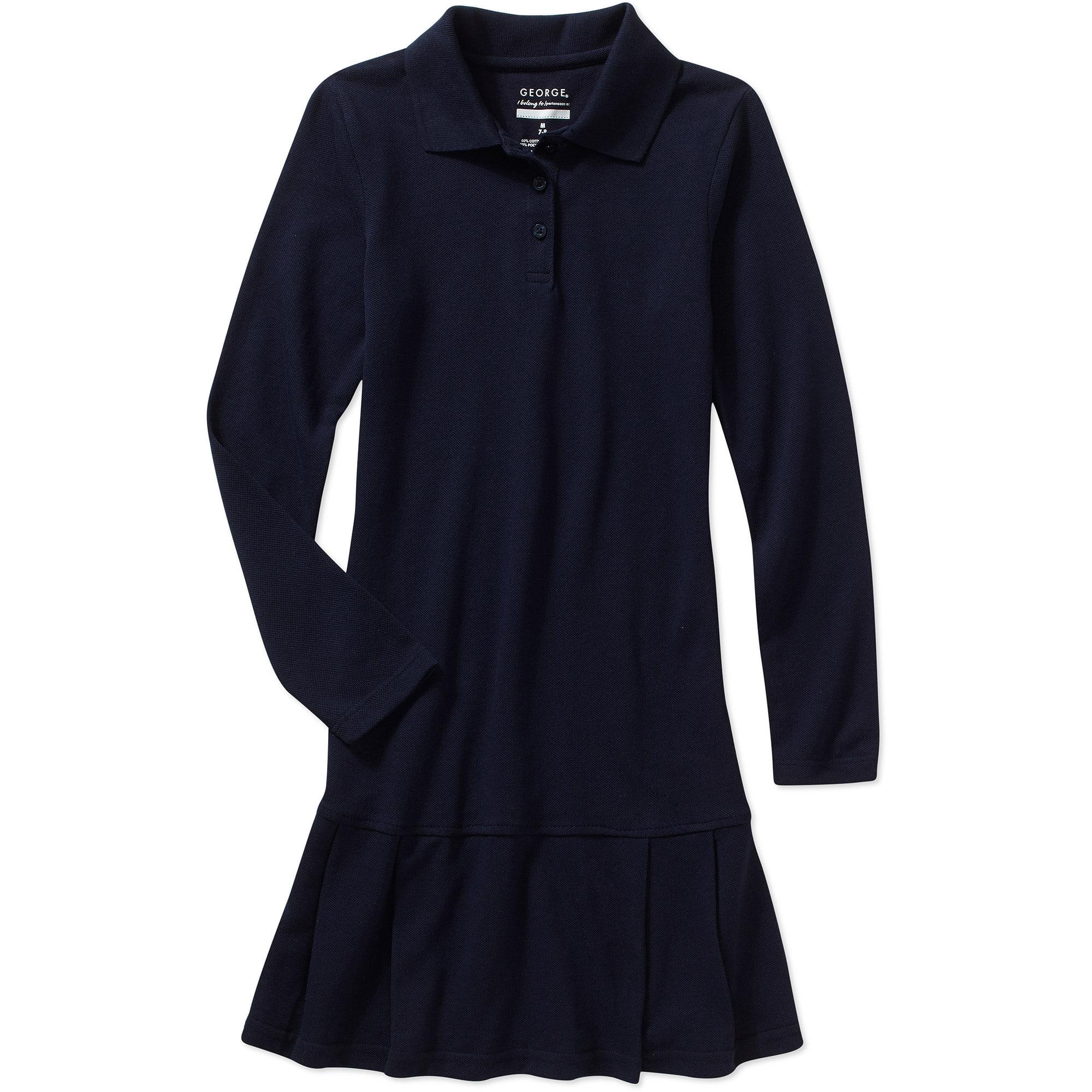 George Girlu0026#39;s Long Sleeve Polo Dress - Walmart.com