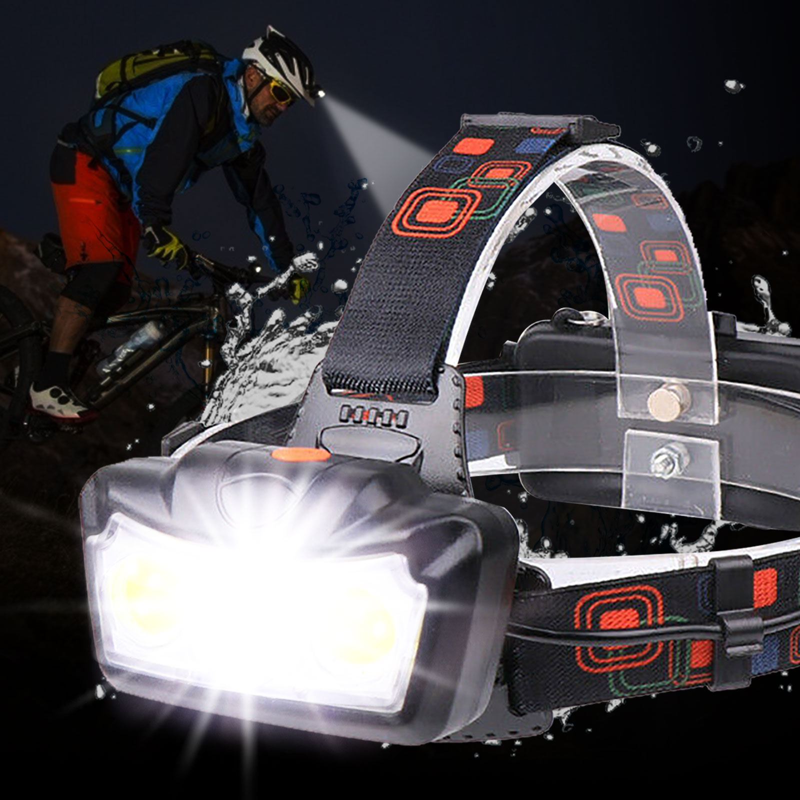 Able /& Handy 3W LED Headlight with Red rear safety light Batteries included