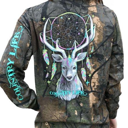 - Country Life Dream Catcher Deer Tree Camo Long Sleeve Shirt (Medium)