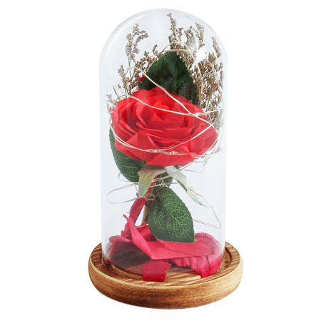 Simulation Rose Lily Eternal Flower in Glass Jar Micro Landscape