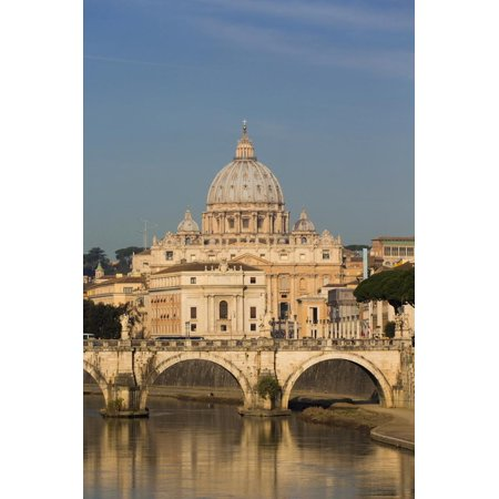 Rome, Italy. St Peter's Basilica. Tiber river and Sant'Angelo Bridge in foreground. Print Wall (Paint Colors That Go Well With Revere Pewter)