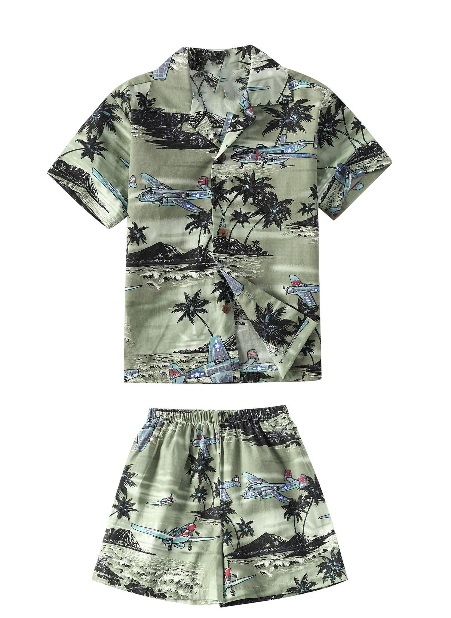 Made in Hawaii Luau Aloha Shirt and Shorts Boy Cabana Set Airplanes Jets and Palms Blue 8
