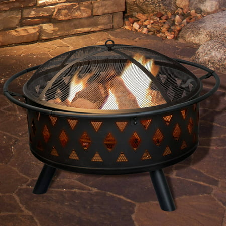 Fire Pit Set, Wood Burning Pit - Includes Screen, Cover and Log Poker - Great for Outdoor and Patio, 32 inch Round Crossweave Firepit by Pure Garden ()