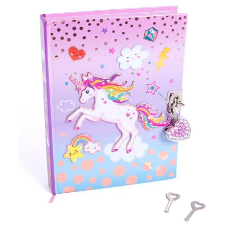 Hot Focus Unicorn Secret Diary with Lock 7 Rainbow Unicorn Theme Journal Notebook (HFC-251UC) ()