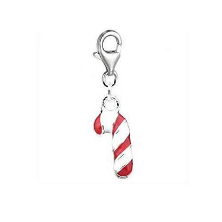 Christmas Candy Cane Charm Pendant for European Clip on Charm Jewelry with Lobster Clasp
