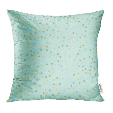 ARHOME Dots Abstract Mint Blue Pattern Shiny Holiday Golden Circles on Turquoise Gold Metal Pillow Case Pillow Cover 16x16 inch Throw Pillow - Blue Circle Dot