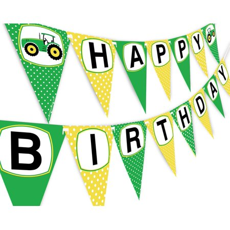 Green Tractor Happy Birthday Banner Pennant - Farm Banner - Tractor Decorations for $<!---->