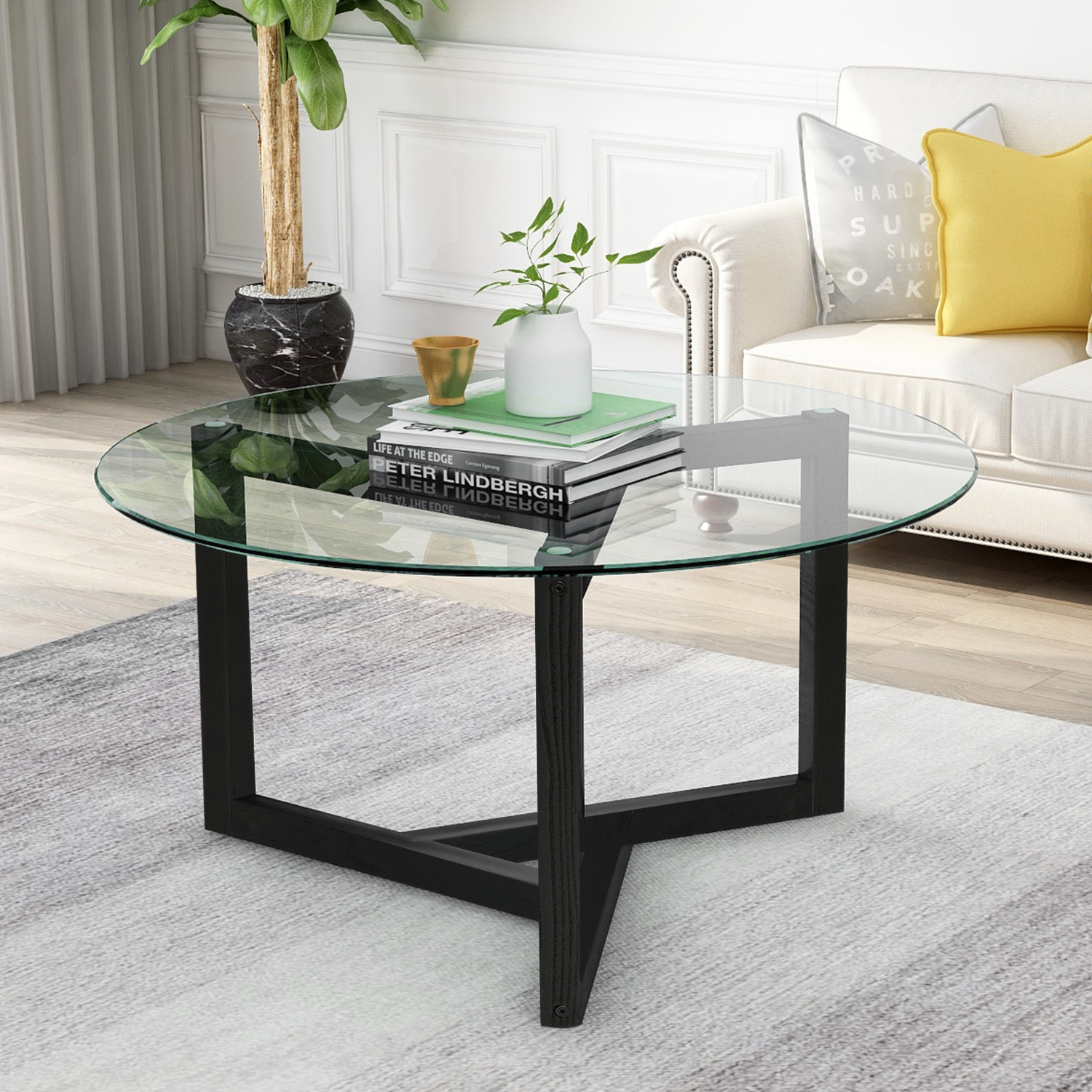Akoyovwerve Round Glass Coffee Table Modern Cocktail Table ...