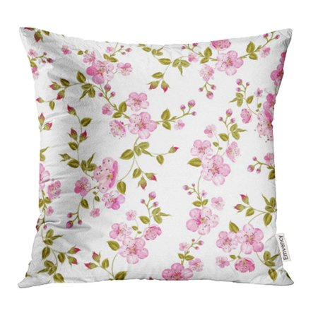 CMFUN Pink Floral Spring Flowers Pattern Over White Sepia Rustic Engraved Greeting Pillowcase Cushion Cover 20x20 (Sepia Floral Pattern)