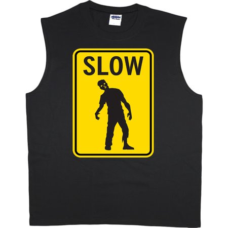 Slow Zombie Street Sign Funny Gamer T-shirt Men's Muscle - Funny Muscle Shirt