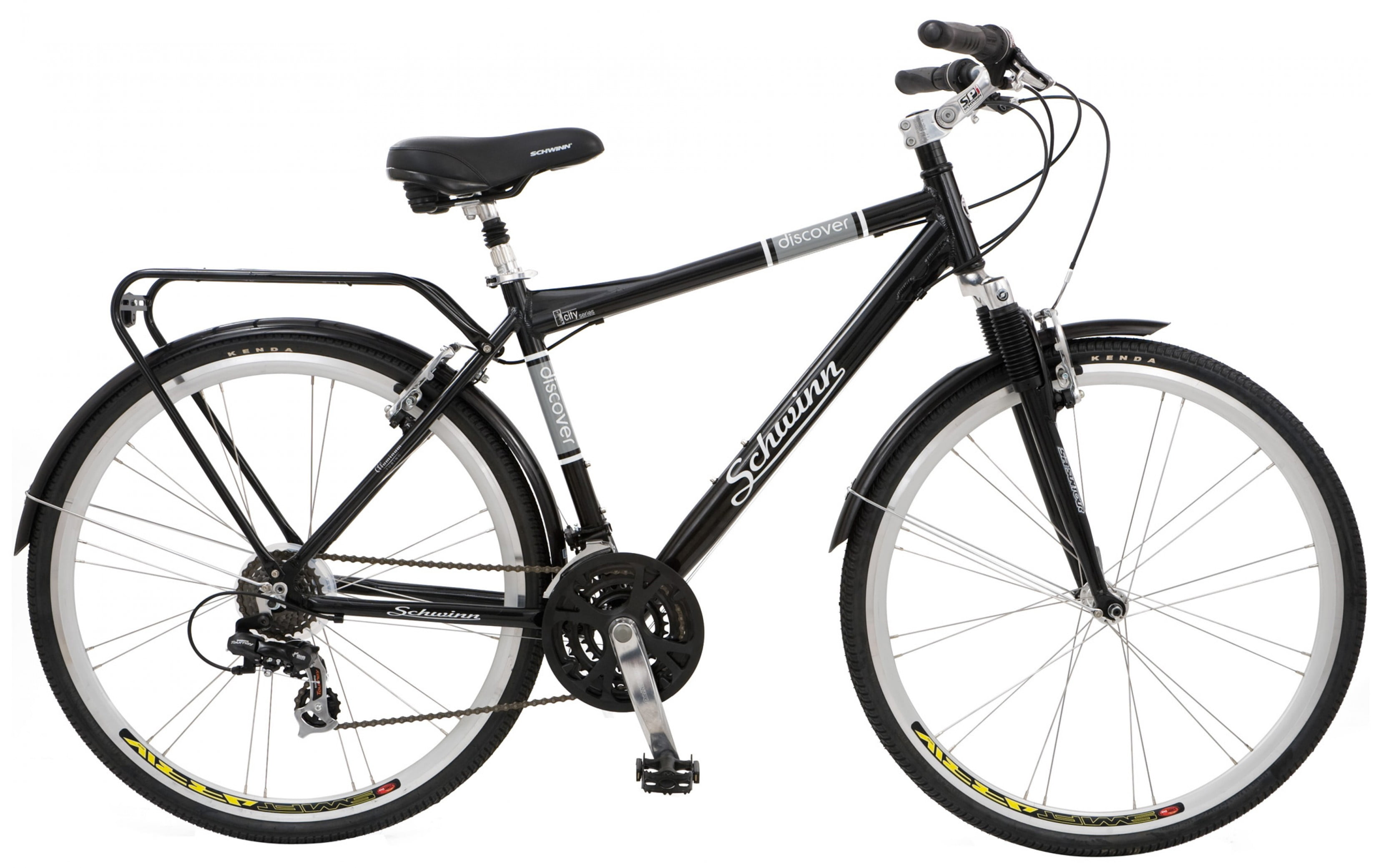 Schwinn Discover 700c Hybrid Bicycle with Full Fenders and Rear Cargo Rack