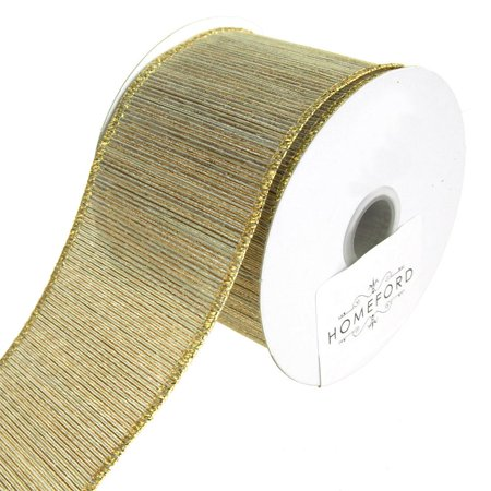 Metallic Striped Harmony Wired Christmas Holiday Ribbon, Gold/Silver, 2-1/2-Inch, 10 Yards