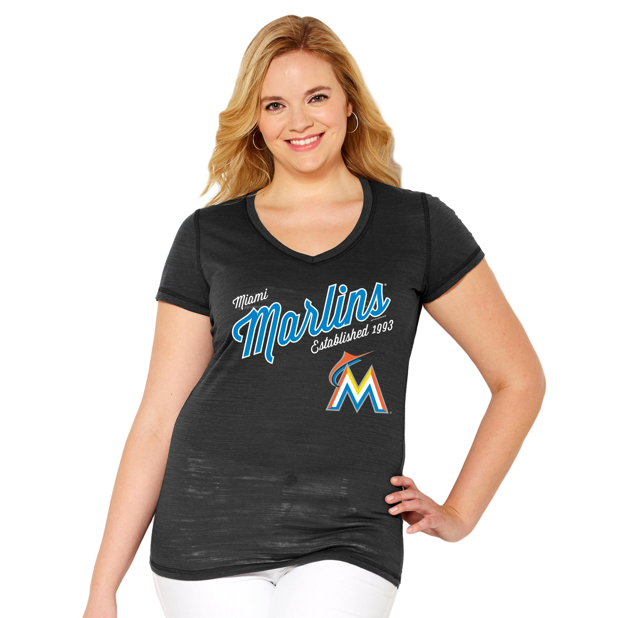 Miami Marlins Soft As A Grape Women's Plus Size Fastball V-Neck T-Shirt - Black