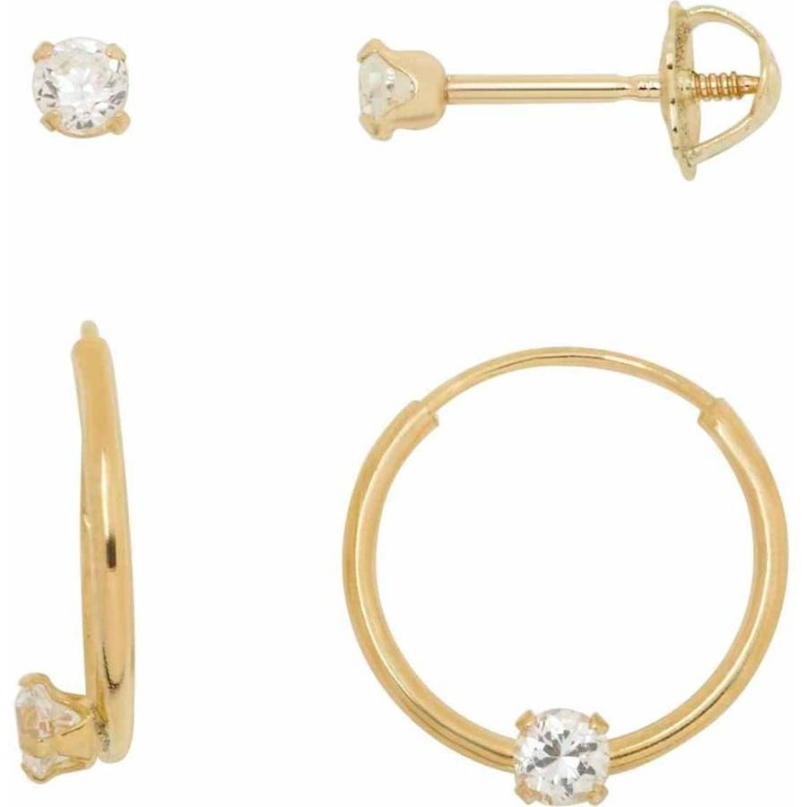 Simply Gold Kids' 10K Yellow Gold Cubic Zirconia 12mm Hoop and 2.5mm Stud Earrings Set