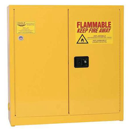 EAGLE 1976 Flammable Safety Cabinet, 24 gal., (Yellow Safety Storage Cabinet)