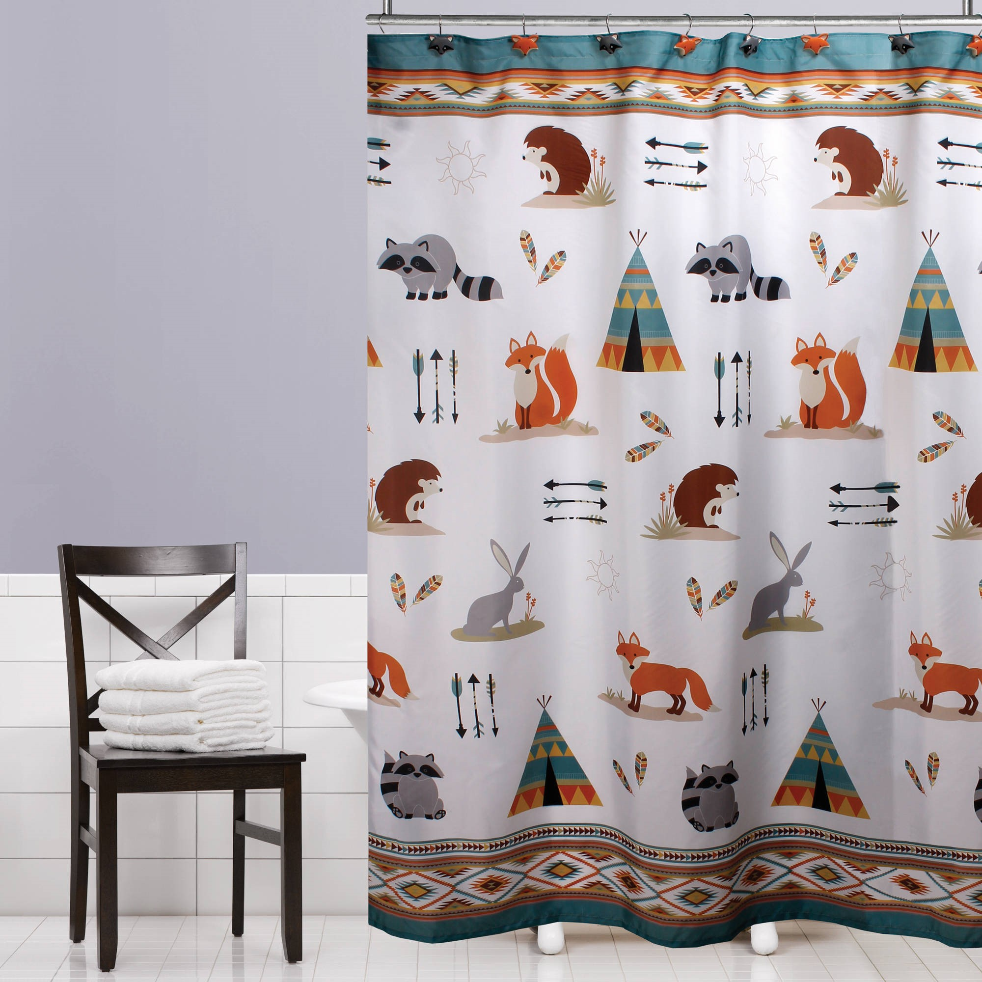Mainstays Kids Woodland Creatures Fabric Shower Curtain by Saturday Knight LTD