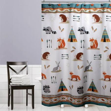 Mainstays Kids Woodland Creatures Fabric Shower Curtain, 1 Each