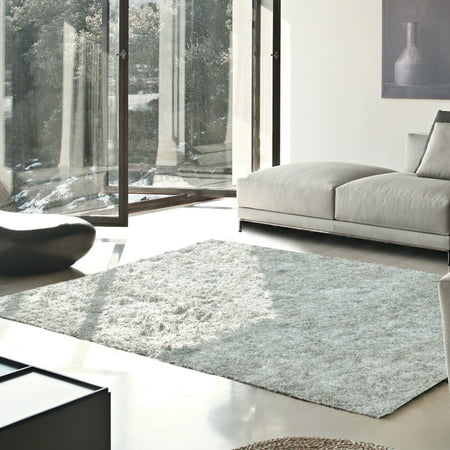Superior Elegant and Soft Hand Woven Solid Shag Area Rug ()