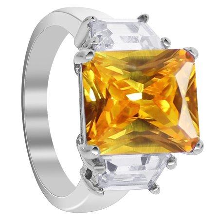 Gem Avenue Emerald Yellow Cubic Zirconia 925 Sterling Silver (Emerald Cut Gemstone Rings)