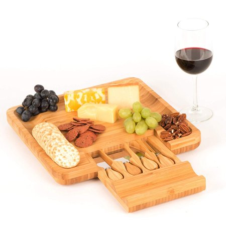 Prestigian Bamboo Cheese Board with Cutlery Set and Sliding Drawer, The Best Wood Charcuterie Platter for Meat and Cheese, Includes 4 Stainless Steel Knife and Serving Utensils, Nonslip (Best Knife For Slicing Brisket)