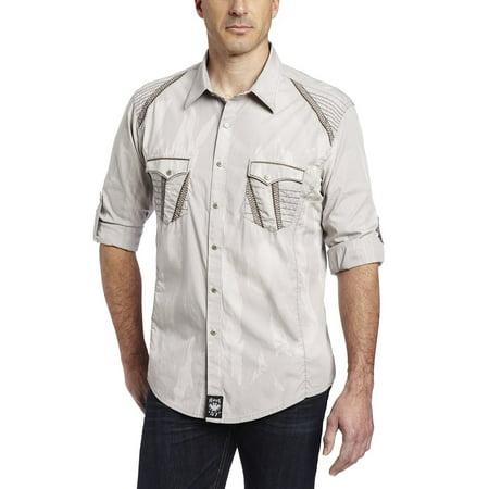Gray Long Sleeve Shirt - Wrangler Men's Rock 47 By Dress Long Sleeve Shirt, Grey, X-Large