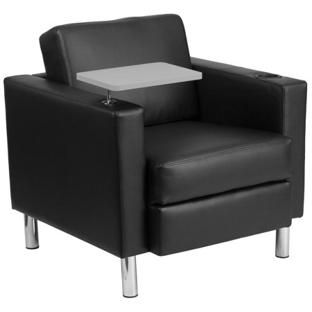 Leather Chrome Legs (Black Leather Guest Chair with Tablet Arm, Tall Chrome Legs and Cup)