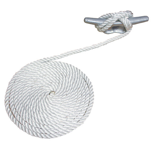 Attwood 10' Premium 3-Strand Twisted Nylon Dock Line, White by Attwood Corporation