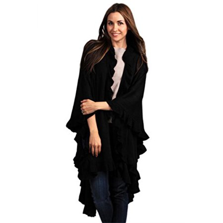 Knit Lace Shawls - Ruffle Trim Knit Poncho-like Shawl Wrap. 44 Black
