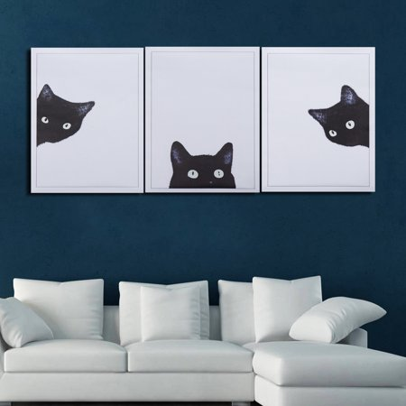 ZAJING Unframed 3Pcs/Set Cute Black Cats Canvas Frameless Painting Modern Wall Art Decor 3 Panel Canvas Wall Art Set Artwork Print Pictures Poster for Living Room Bedroom Kids Room ()