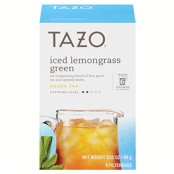 Tazo Iced Lemongrass Green Tea 6 Filter Bags 3.15 oz Boxes - Single Pack