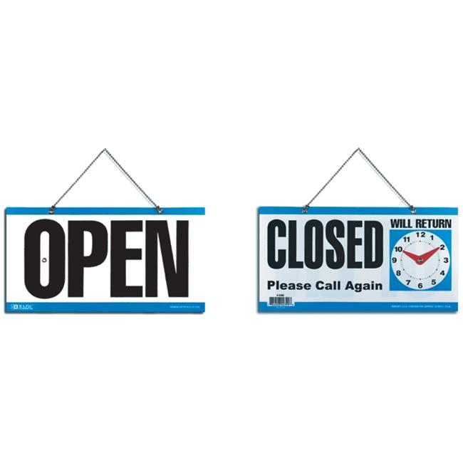 Bazic 4399-24 6 inch x 11. 5 inch Closed Clock Sign with Open Sign on Back- Pack of 24