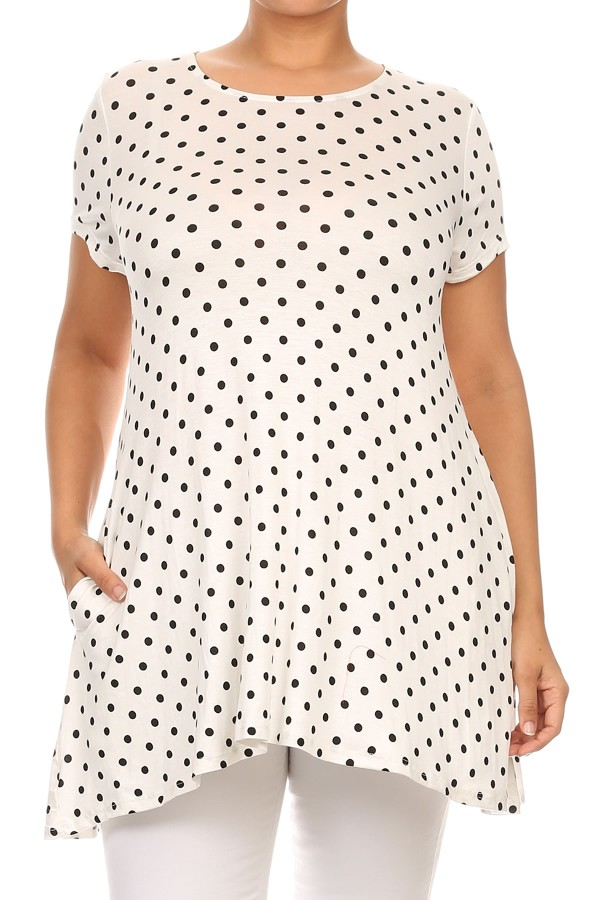 Women's PLUS  trendy style polka dot print  short sleeves top
