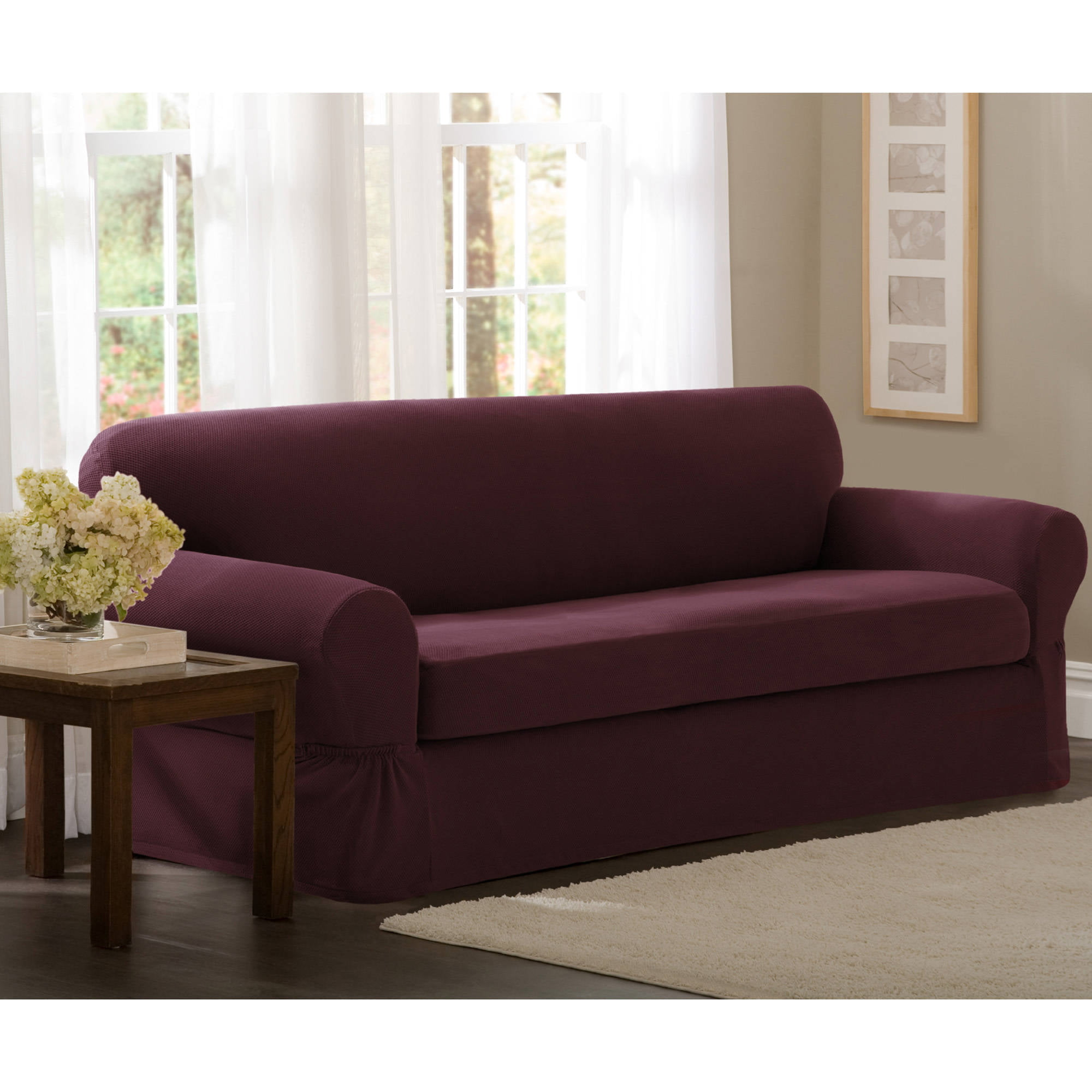 Maytex Stretch Pixel 2 Piece Sofa Furniture Cover Slipcover, Sand    Walmart.com