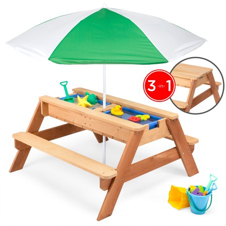Best Choice Products Kids 3-in-1 Outdoor Wood Activity/Picnic Table with Umbrella and 2 Play