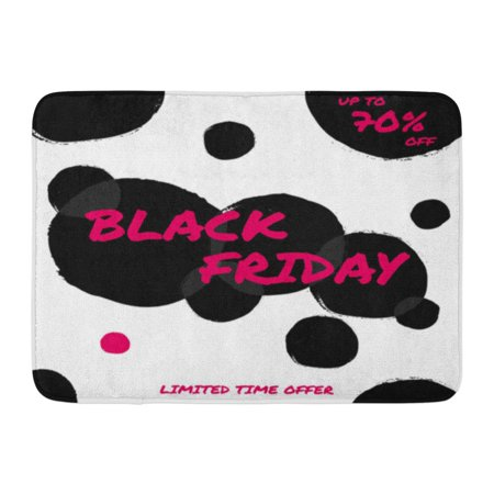 GODPOK Discount Autumn Abstract Black Friday Sale Design with Text in Pink and Bubbles on White with Brush Dots Rug Doormat Bath Mat 23.6x15.7 inch