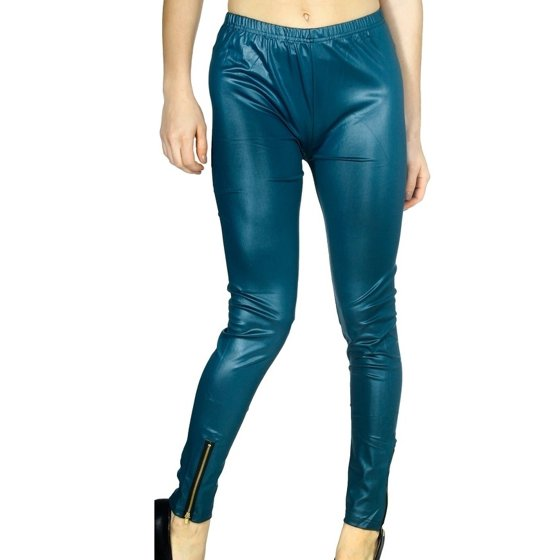 954b61b82db33 Simplicity - Simplicity Women's Hi-Waist Wet Look Faux Leather Leggings  with Ankle Zipper - Coral Red - Walmart.com
