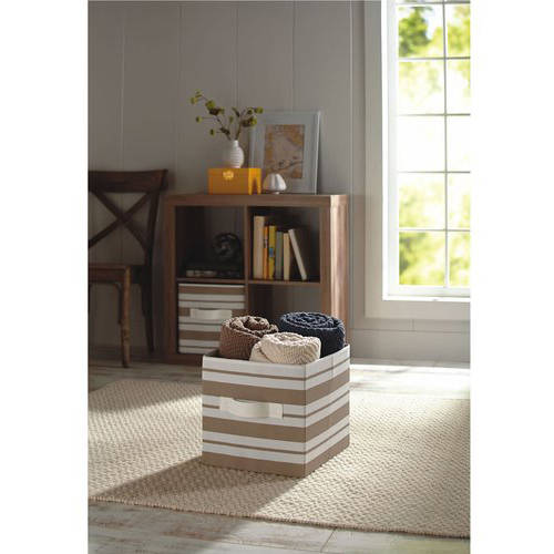 Better Homes and Gardens Collapsible Fabric Storage Cube, Tan Stripe