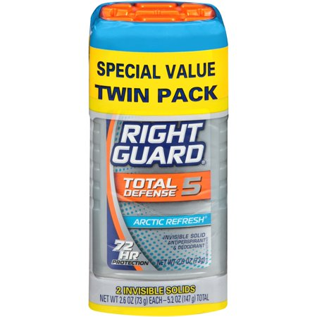 Right Guard Xtreme Defense 5 Antiperspirant Deodorant Invisible Solid Stick, Arctic Refresh, 2.6 Ounce (Twin Count)