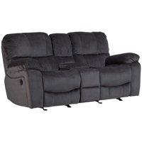Corvallis Transitional Reclining Gliding Console Loveseat - Steel Blue