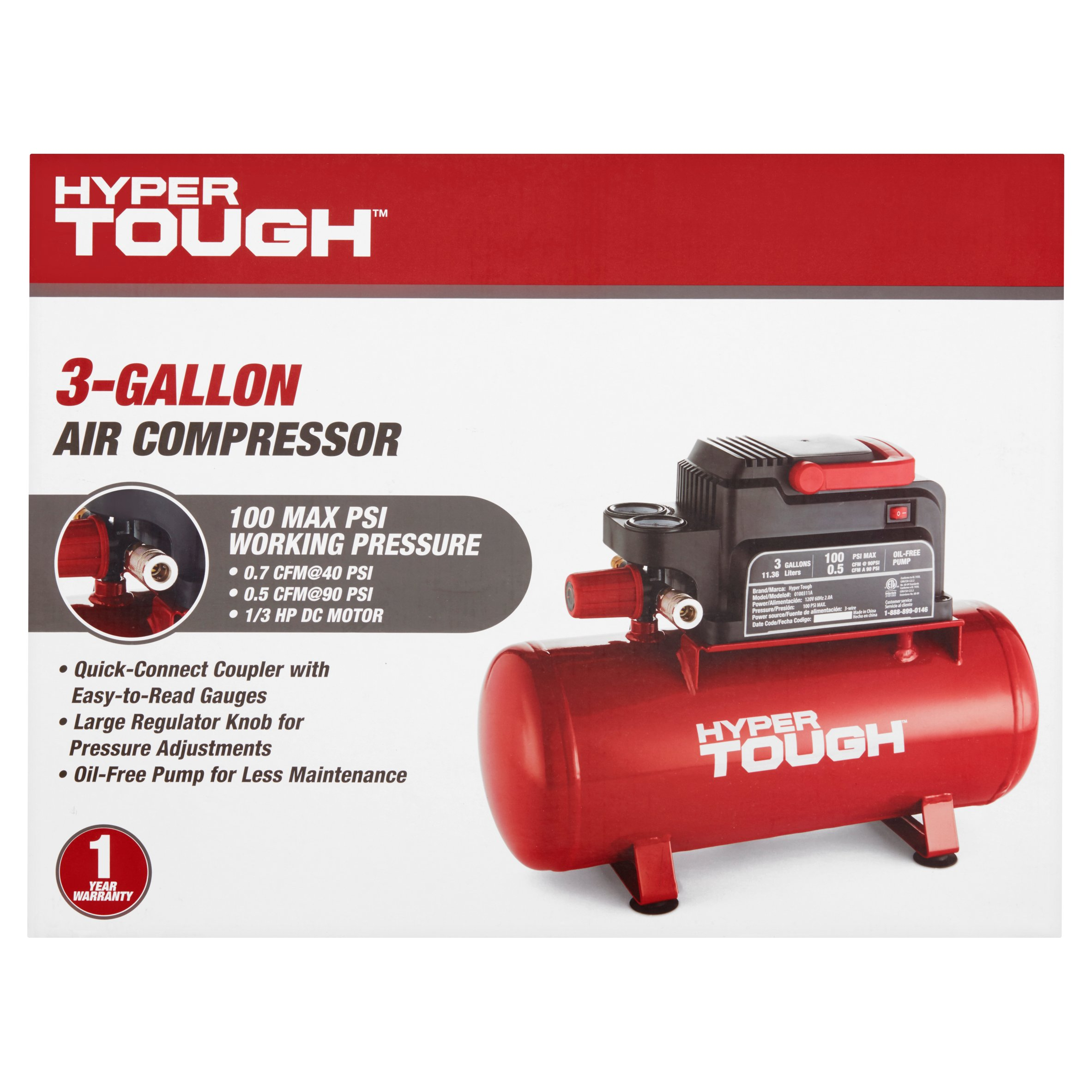Hyper Tough 3-Gallon Air Compressor