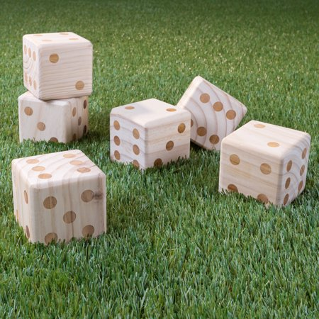 Giant Wooden Yard Dice Outdoor Lawn Game, 6 Playing Dice with Carrying...