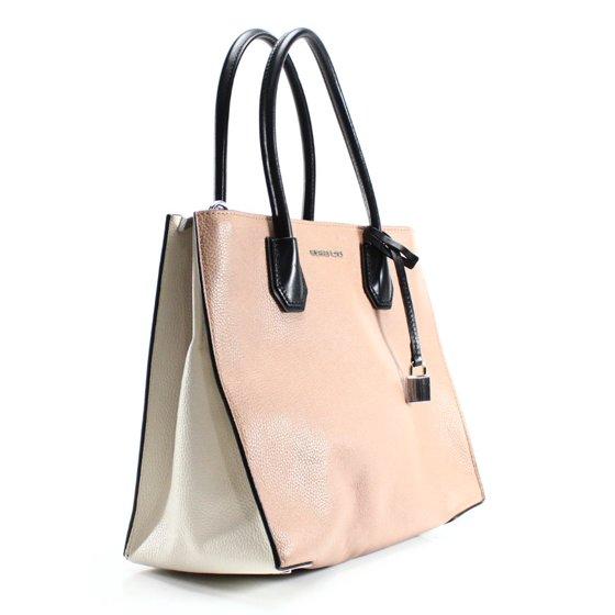 f60ce079aa17 Michael Kors - Michael Kors Women's Mercer Large Leather Tote Bag Cashew  Ecru Black OS - Walmart.com